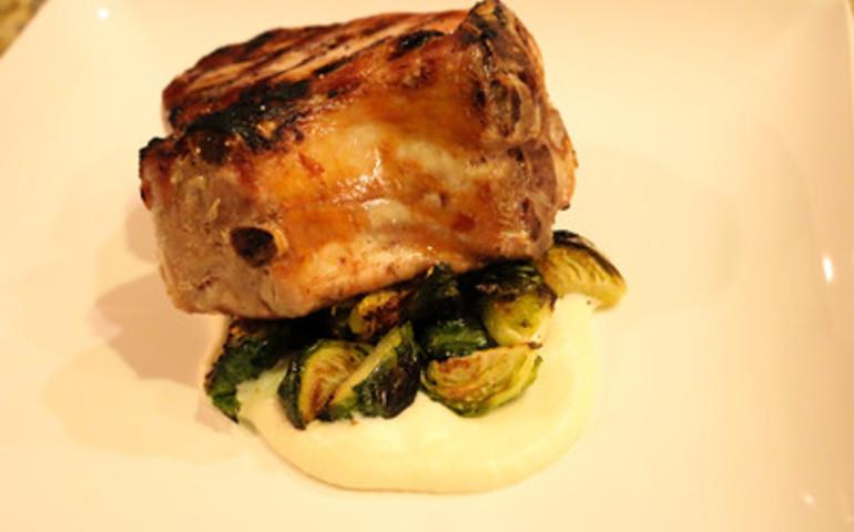 Roasted Pork Rack, Cauliflower Puree, Sauteed Brussell Sprouts