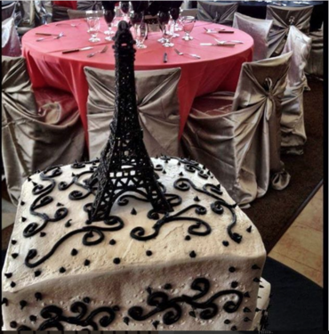Guest seating for a Quincenera birthday celebration.  Turning 15 years old should always be this beautifully presented with chair covers, lush linens, and with a custom designed Paris themed cake