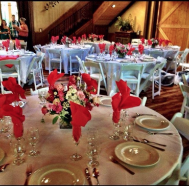 Full service catering from conception to the custom arranged linens plus guest place settings, all the way to the clean up with 'white glove' standards.